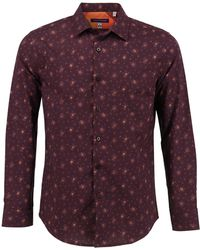 lords of harlech - Nigel Shirt In Wine Cross Stitch - Lyst
