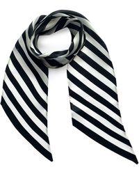 INGMARSON Stripy Silk Neck Scarf Black & White