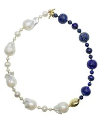 Farra Baroque Pearls & Round Lapis Short Necklace - Blue