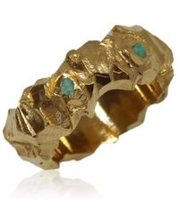 Karolina Bik Jewellery Carved In The Rock Ring Gold With Emeralds - Metallic