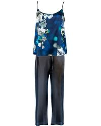 StephieAnn Navy Blue Silk Pajamas