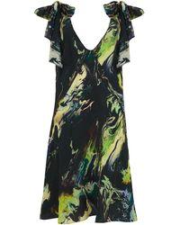 Klements Atlas Tie Dress In Silk Psychriver Print - Multicolour