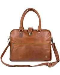 MAHI Leather Cornell Satchel Briefcase In Vintage Brown