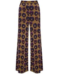 PHOEBE GRACE Peggy Wide Leg Palazzo Trouser In Giant Pansy Print - Metallic