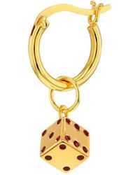 True Rocks 18kt Gold Plated & Red Mini Dice Charm On Gold Hoop