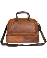 MAHI - Large Leather Raleigh Holdall Bag With Under Compartment In Vintage Brown With Mahogany Trim - Lyst
