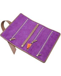 Stow Soft Leather Gertrude Travel Jewellery Roll Jasper Brown