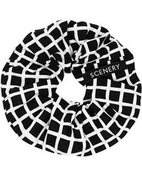 Scenery Label - Black Grid Scrunchie - Lyst