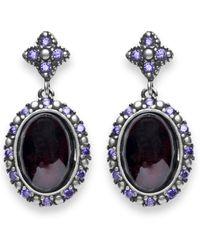 Platadepalo - Classic Silver Garnet And Zircon Earrings - Lyst