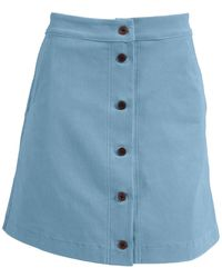 relax baby be cool Ribbed Corduroy High Waist Button Up Mini Skirt - Blue