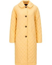 Palones Long Quilted Car Coat - Yellow
