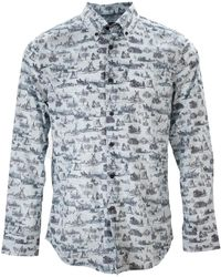 lords of harlech Morris Vintage Toile Ice Shirt - Blue