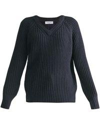 Paisie Oversized V-neck Sweater In Navy - Blue