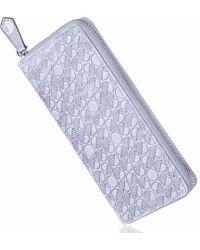Drew Lennox Luxury English Leather Ladies 12 Card Zip Around Purse & Wallet In Light Grey