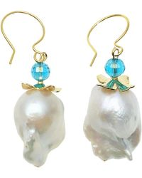 Farra Baroque Pearl & Crystal Hoop Earrings - Multicolor