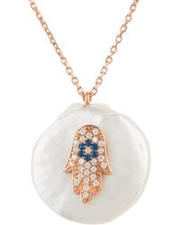 LÁTELITA London - Pearl & Hamsa Necklace Rosegold - Lyst