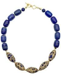 Farra Lapis Lazuli With Rhinestones Bordered Lapis Choker - Blue
