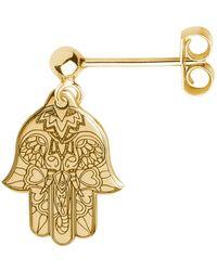 CarterGore Gold Hamsa Hand Single Short Drop Earring - Metallic