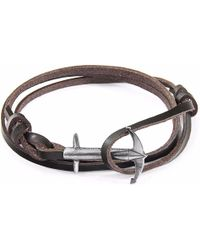 Anchor & Crew | Dark Brown Admiral Silver & Leather Bracelet | Lyst