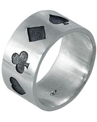 Edge Only Poker Ring Oxidised Silver - Black