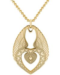 CarterGore Medium Gold Winged Heart Pendant Necklace - Metallic