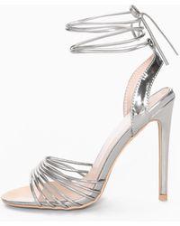 True Decadence Strappy Metallic Silver Heeled Sandal