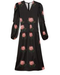 PHOEBE GRACE - Daisy Midaxi Dress With Puffed Sleeves In Black Protea - Lyst