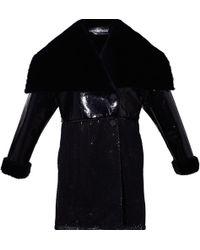 Ardent & Co - Black Faux Rabbit Fur Coat - Lyst