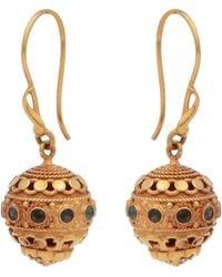 Kastur Jewels 18kt Gold Ball Drop Earrings With Emeralds - Metallic
