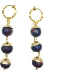 Farra - Deep Purple Pearls Dangle Earrings - Lyst