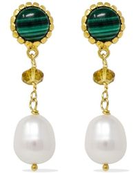 Vintouch Italy Malachite, Citrine & Pearl Drop Earrings - Green