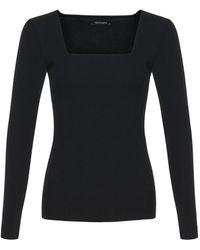 Nocturne Square Neck Knit Sweater-black