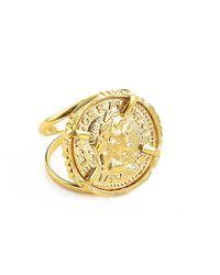 Ottoman Hands Cezar Gold Coin Double Band Cocktail Ring - Metallic