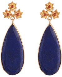 Carousel Jewels Lapis & Carnelian Drop Earrings - Blue