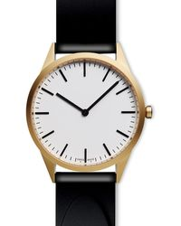 Uniform Wares Men's C35 Two-hand Watch In Pvd Gold With Nitrile Black Rubber Strap - Metallic