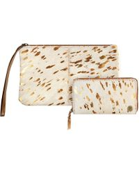 MAHI - Matching Clutch & Purse Gift Set In Cream & Copper Pony Hair Leather - Lyst