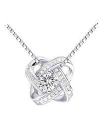 N'damus London - Sterling Silver And Crystal Knot Necklace - Lyst