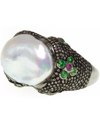 Ri Noor - Silver Pearl Champagne Diamond Ring - Lyst