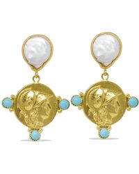 Vintouch Italy Athena Pearl & Turquoise Drop Earrings - Metallic