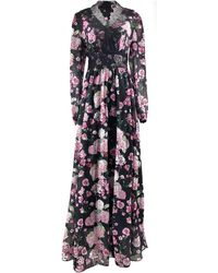 LEFON New York Floral Maxi Dress With Trimmed Lace - Black
