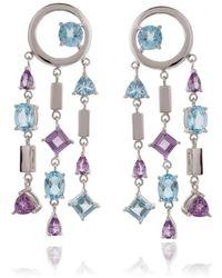 Manja - Selatra Blue Topaz & Amethyst Chandelier Earrings - Lyst