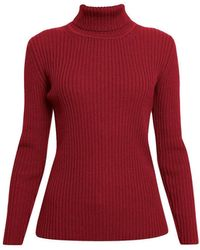 Rumour London Mia Red Ribbed Turtleneck Jumper