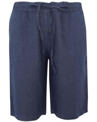 Haris Cotton Elastic Waistband Linen Bermuda - Blue