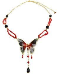 Bellus Domina Butterfly & Coral Necklace - Multicolour