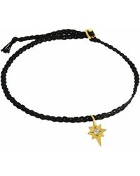 Yvonne Henderson Jewellery Tiny North Star Friendship Bracelet On Black Silk - Metallic
