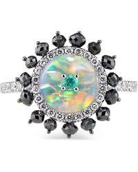 Ri Noor Starburst Paraiba Opal & Diamond Ring - Multicolour