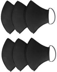 Rumour London Pack Of 6 Black Neoprene Protective Reusable Cloth Mask
