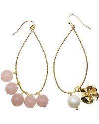 Farra - Rose Quartz & Freshwater Pearl Charms Earrings - Lyst