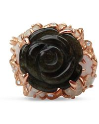 Bellus Domina Gold Plated Obsidian Rose Ring - Green
