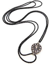 Kaizarin Romantic Victorian Inspired Diamond & Spinel Necklace - Black